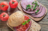 Sandwich with salami and tomatoes