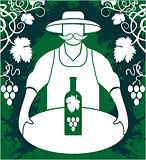 Winemaker with wine bottle