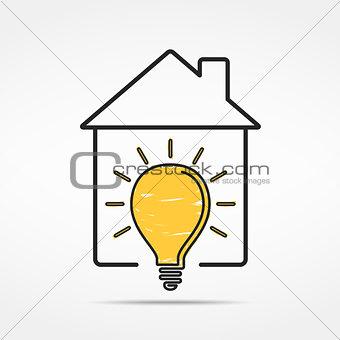 House with Light Bulb