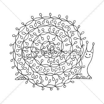 Art snail, ornate zentangle style for your design