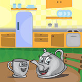cartoon kettle with a cup