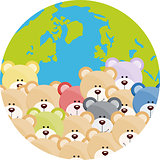 Lot of teddy bear on world globe