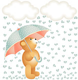 Teddy bear with umbrella under the rain of hearts