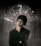 Genius Little Boy Wearing Glasses, Thinking Process