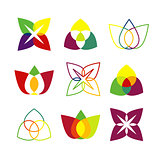 Set of bright geometrical logos.