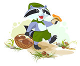 Raccoon scout collects mushrooms. Mushroomer picker with basket