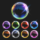 Realistic transparent soap bubbles