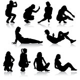 Silhouettes of people in positions lying and sitting. Vector illustration.