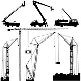Set of black hoisting cranes isolated on white background. Vector illustration