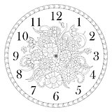 clock face decorated with doodle flowers on white background