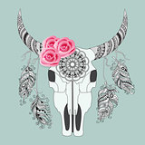boho card with cow skull and rouses