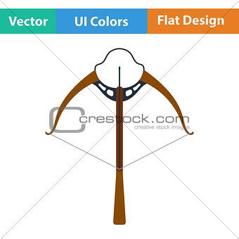 Flat design icon of crossbow