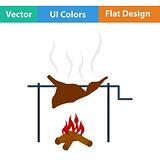 Flat design icon of roasting meat