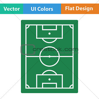 Flat design icon of football field