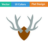 Flat design icon of deer's antlers
