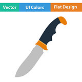 Flat design icon of hunting knife