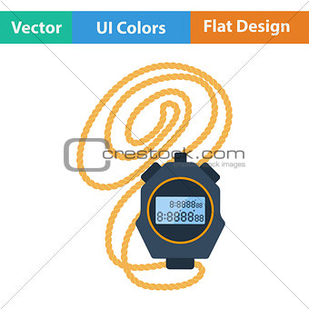 Flat design icon of stopwatch