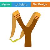 Flat design icon of hunting  slingshot