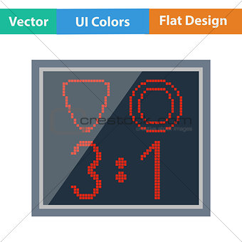 Flat design icon of football scoreboard