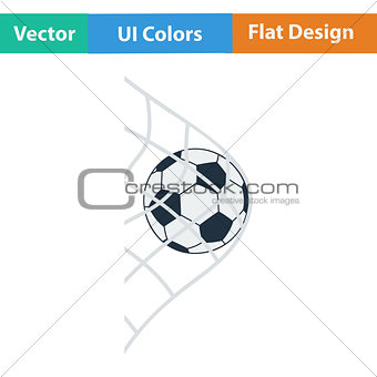 Flat design icon of football ball in gate net