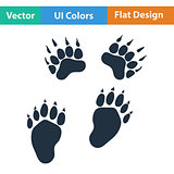 Flat design icon of bear trails