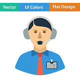 Flat design icon of football commentator