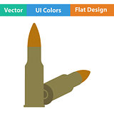 Flat design icon of rifle ammo