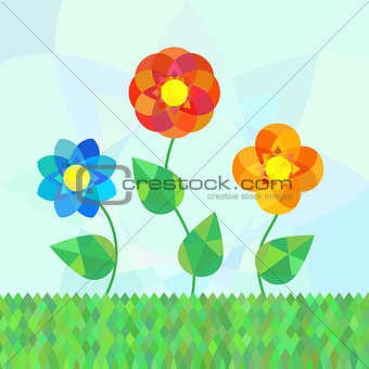 Three geometry mandala flowers on meadow.