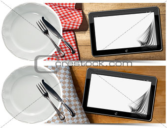 Kitchen Banners with Plate and Tablet