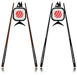Sushi Symbols - Wooden and Black Chopsticks