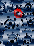 Metallic blue cogs and a red one background