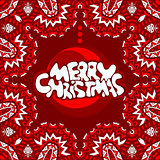 Merry Christmas lettering poster card