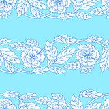 Vector seamless background with borders. Intricate ornament made of twisted flowers.
