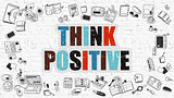 Think Positive Concept with Doodle Design Icons.