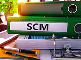 Green Office Folder with Inscription SCM.