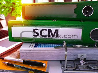 Green Office Folder with Inscription SCM.