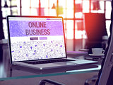 Laptop Screen with Online Business Concept.
