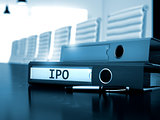 IPO on Office Folder. Toned Image.