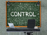 Control - Hand Drawn on Green Chalkboard.