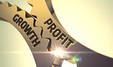 Golden Cog Gears with Profit Growth Concept.