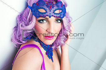 attractive portrait beauty girl in mask