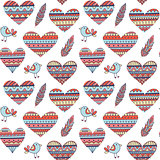 Seamless Pattern with Hearts in Ethnic Style