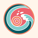 Ocean wave and sun logo