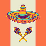 Mexican design with sombrero and cactus
