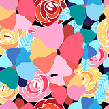 Seamless graphic pattern of flowers