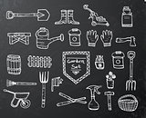 Collection of garden elements on black chalkboard