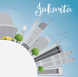 Jakarta skyline with grey landmarks, blue sky and copy space.