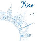 Outline Kiev skyline with blue landmarks and copy space.