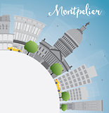 Montpelier (Vermont) city skyline with grey buildings and copy s