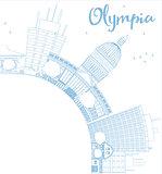 Outline Olympia (Washington) Skyline with Blue Buildings